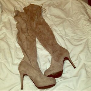 Shoes - Over the knee faux suede boots